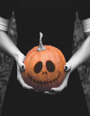 Halloween decorated pumpkin