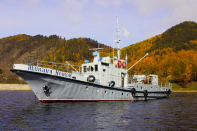 The Siberian research vessel on Lake Baikal used by the Kozhov family, whose members have gathered lake samples for more than six decades.