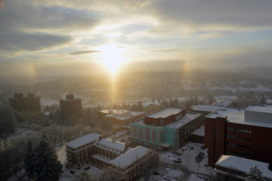 Snow-covered WSU Pullman campus from winter 2016-17