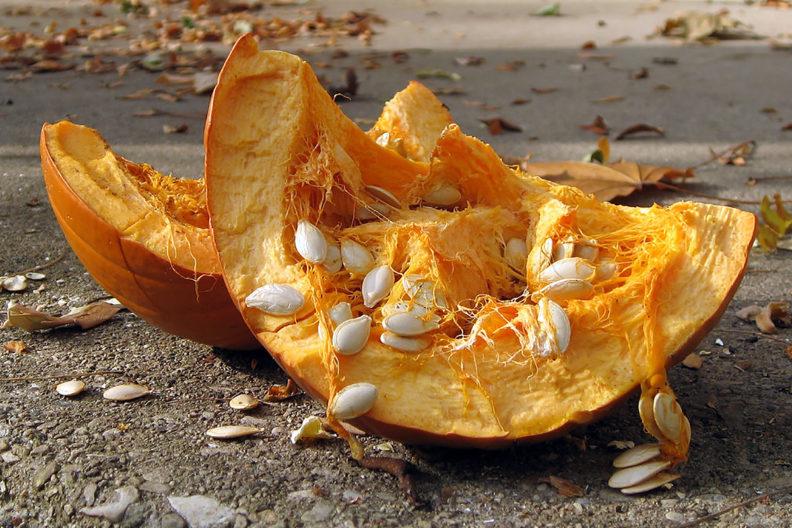 A smashed pumpkin on concrete.