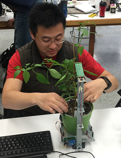 "Computer Science junior Nathan Scott works on his self-lighting and self-watering ""smart plant."""