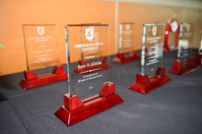 Plaques recognizing length-of-service to WSU