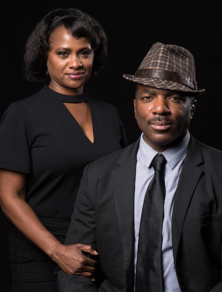 "Gilbert Glenn Brown as Dr. Martin Luther King, Jr., and Karen Malina White as Camae, in L.A. Theatre Works production of ""The Mountaintop."" Photo by Matt Petit"