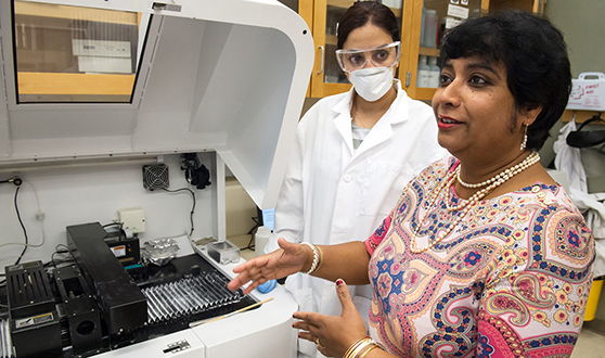 Professor and inventor Susmita Bose in her lab at the School of Mechanical and Materials Engineering. Photo by WSU Photo Services.