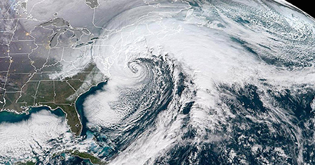 Bomb Cyclone forms off East Coasat. Photo courtesy of NASA.