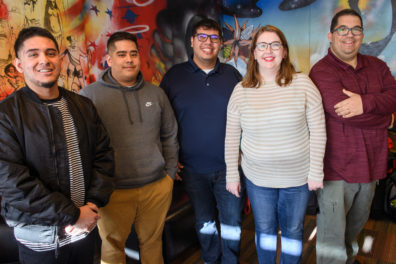 Members of the team of students, along with a WSU staff member, who provided translation services for the University's first fully functional Spanish-language website.