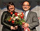 Anna King, 2016 WSU woman of th year with Dan Bernardo, provost.