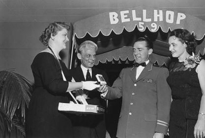 WSU hospitality award presented at Bellhop 1959 celebration. The annual event previously ran from the 1940s to the 1980s.
