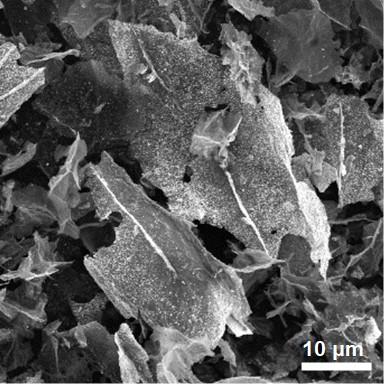 Tin oxide graphene hybrid materials as seen through scanning electron microscope.