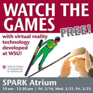 Invitation to watch the 2018 Winter Olympics virtually at WSU SPARK Atrium
