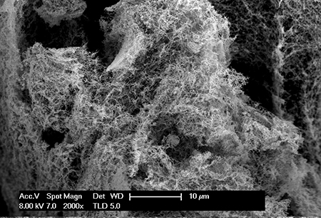 WSU researchers can create large amounts of inexpensive nanofoam catalysts that can facilitate the generation of hydrogen on a large scale by splitting water molecules.