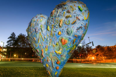 Heart sculpture on WSU's Pullman campus