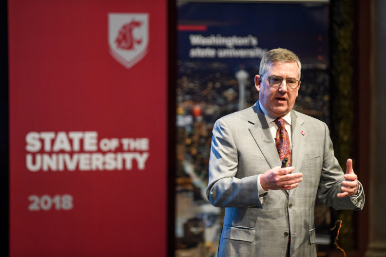 WSU President Kirk Schulz delivering 2018 State of the University address