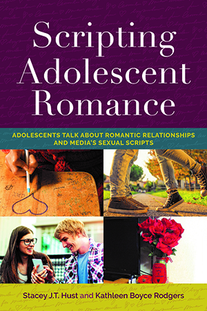 Adolescent Romance book cover. The book shares adolescents' and young adults' stories related to media, gender stereotypes, virginity, romantic relationships, sexual activity and dating violence.