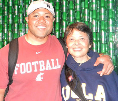 Chris Johnson and his mother, who spoke four languages and inspired him to take foreign language.