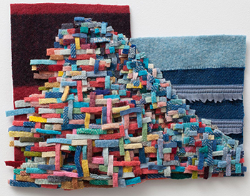 Watt uses materials including reclaimed wool blankets, felt, pine, cedar and iron to address issues including indigenous politics, feminism and the relationship between history and memory.