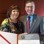 Patti Hirahara with WSU President Kirk Schulz.