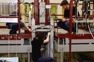Students working on equipment at WSU's TRIGA nuclear reactor