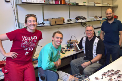 WSU device assembly team (l-r:) Sasha Richey, MME student Ian Laursen, Kirk Reinkens and Arda Gozen.