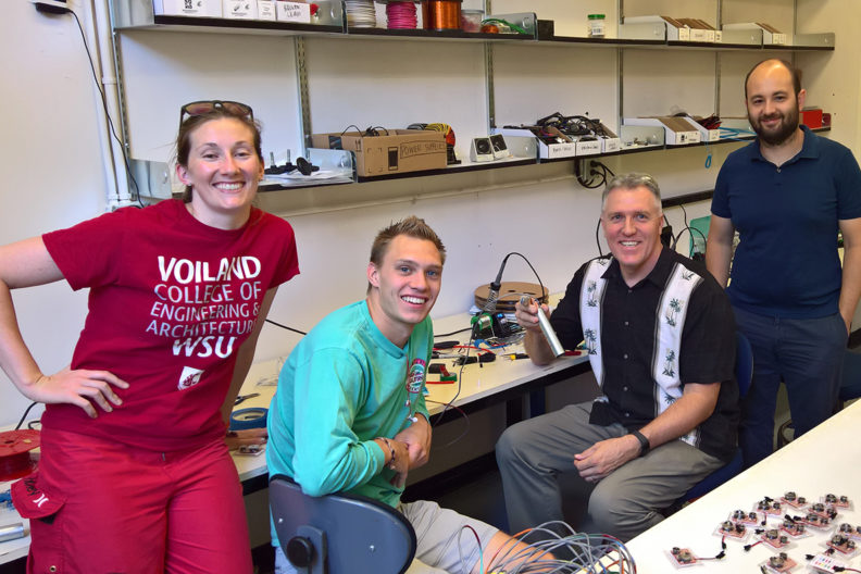 WSU device assembly team (l-r:) Sasha Richey, MME student Ian Laursen, Kirk Reinkens and Arda Gozen.