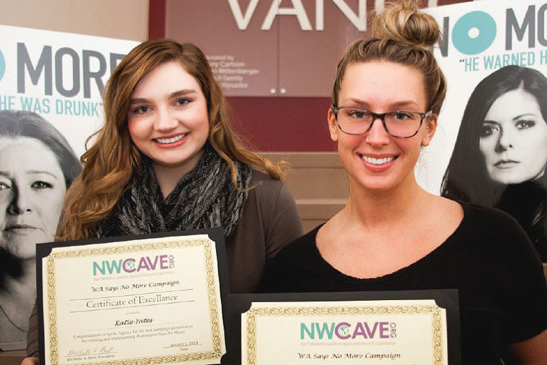 "WSU Vancouver integrated strategic communication majors Katie Yates, above left, and Taylor Johnson had the winning project for the National Women's Coalition Against Violence & Exploitation's 2018 ""WA Says No More"" campaign."