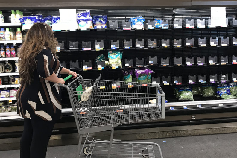 Bare shelves in a Richland, Wash., grocery store on April 16 after packages of romaine lettuce were voluntarily pulled. Stores and restaurants are restocking shelves with romaine grown in another region. (Photo by Faith Critzer, WSU)