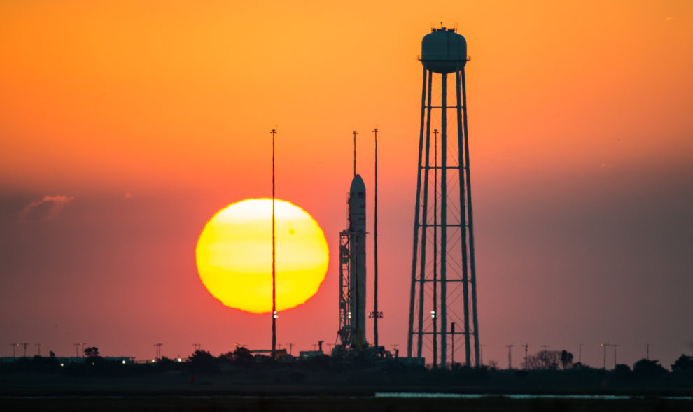 Antares rocket with Cygnus spacecraft ready for takeoff at a NASA launch facility in Virginia