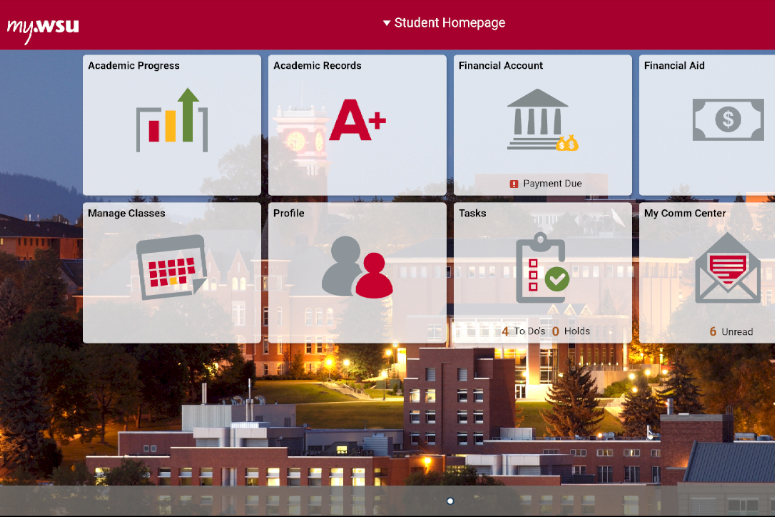 screenshot of new myWSU homepage