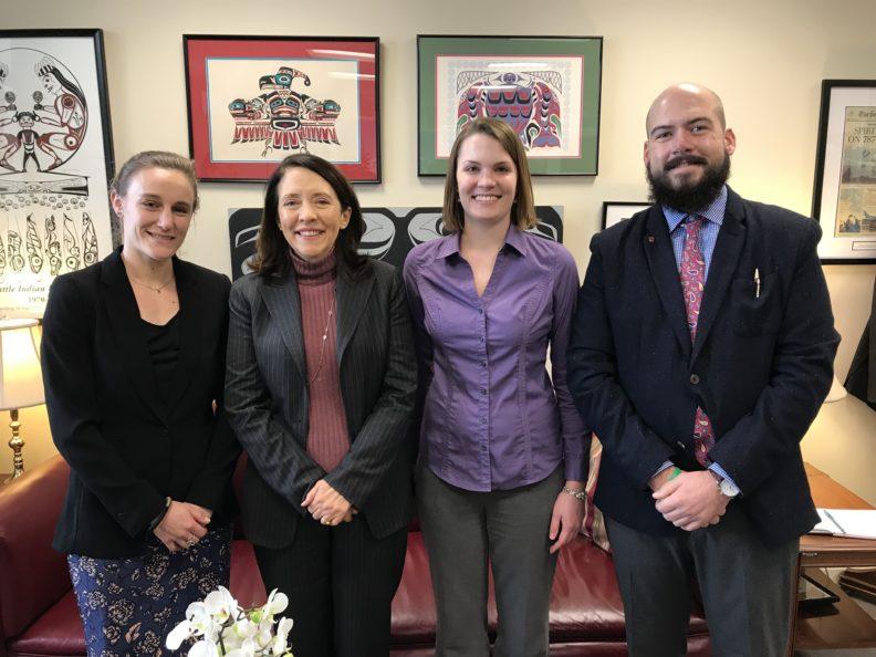 From left: Ashley Railey, Senator Maria Cantwell, Allison Kolbe, and Nick Pokorzynski