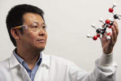 A closeup of Zhang inspecting a molecular model.