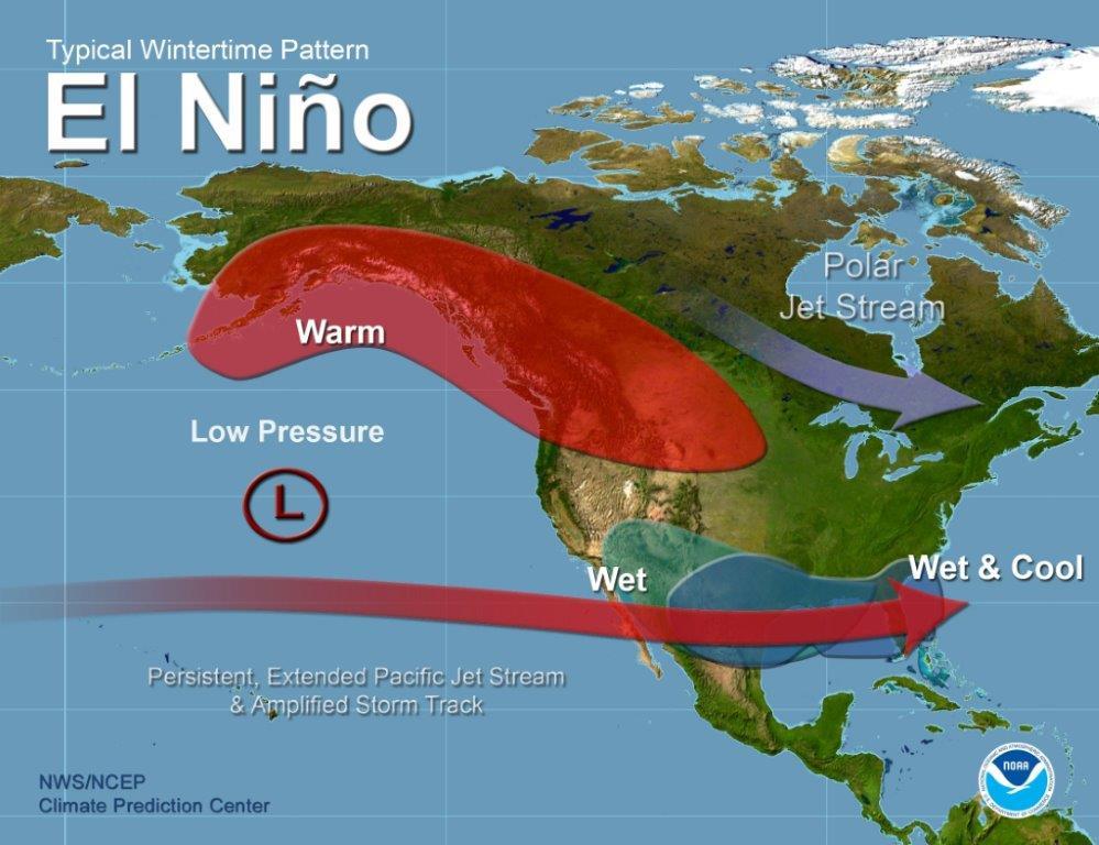El Niño weather map of North America.