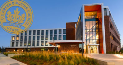 Exterior view of LEED Gold certified building on the WSU Everett campus.