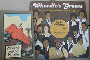 Book cover of Wheedle on the Needle and record album cover Wheedle's Groove.