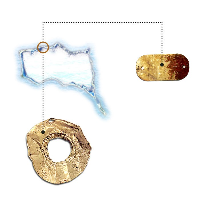 Map of Mili Atoll island and images of two pieces of metal found there.
