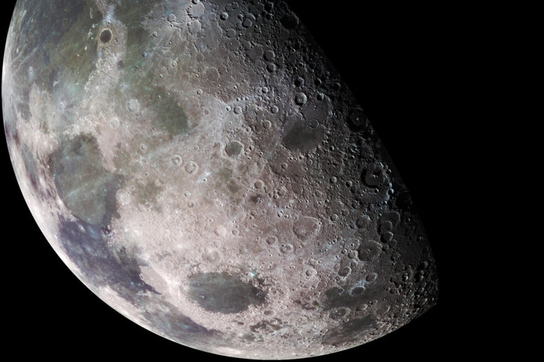 Closeup view of the moon.