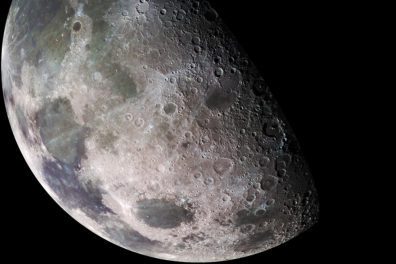 View of the moon in outer space.