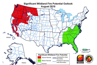 Map of U.S. illustrating an above normal potential for wildfires in the Pacific NW.
