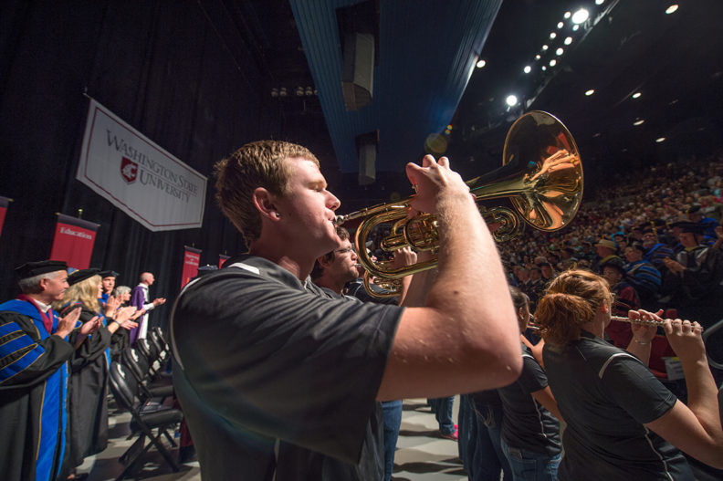 WSU band members play during University Convocation.