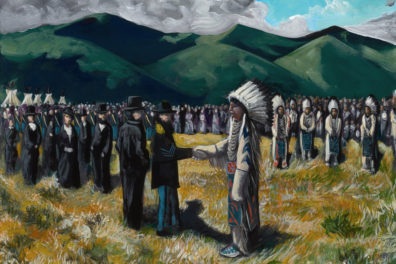 Painting of American Indians and calvary men in open field with mountains in background.