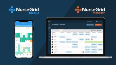 Screen shots of NurseGrid on a phone and a laptop.
