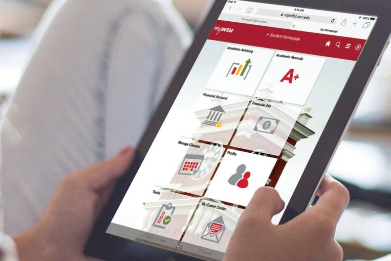 myWSU site viewed on a tablet