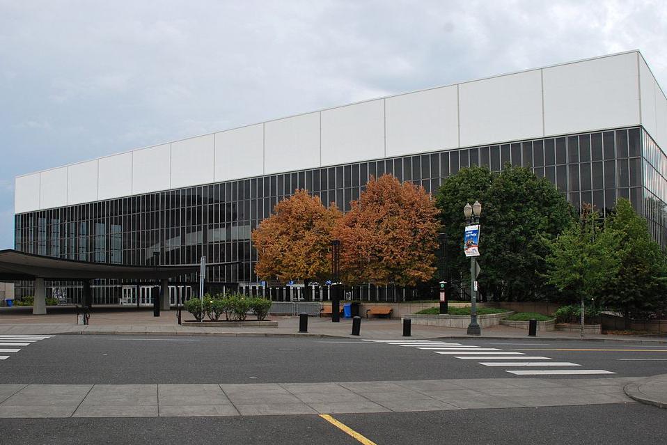 Exterior of Veterans Memorial Coliseum.