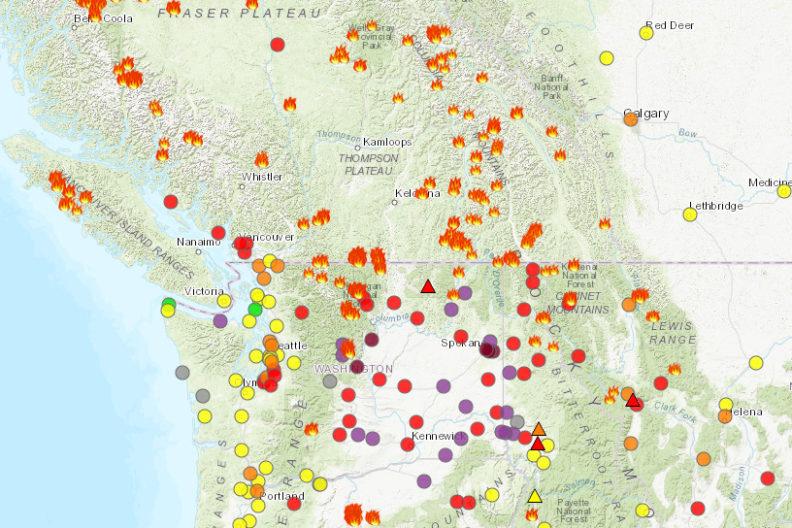 Air quality map of Washington.