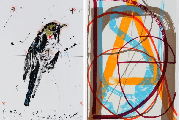 Artwork featuring birds and letters.