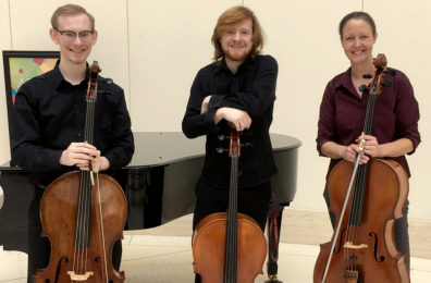 Fay, Shaw and Boden pose with their cellos.