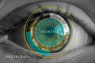 Mockup of a retina scan promoting identity protection.