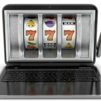Rendering of laptop computer that resembles a slot machine.