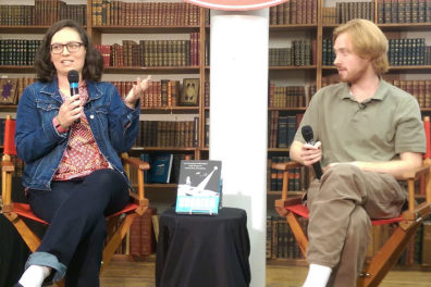 'Soonish' authors speak to the audience during book tour.