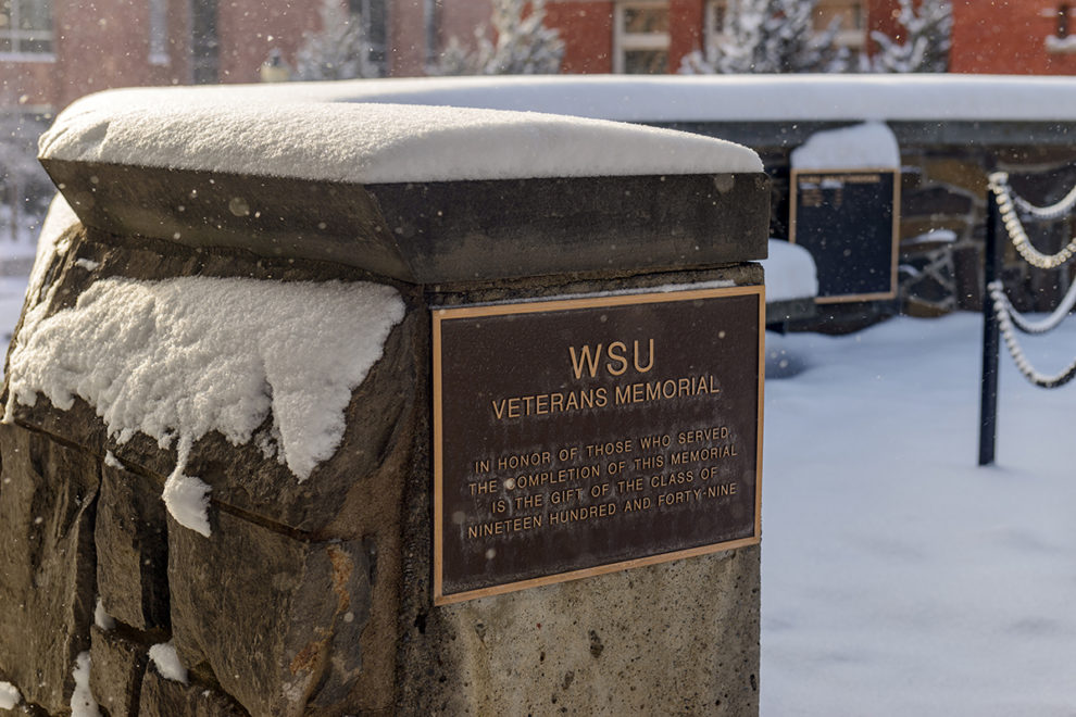 WSU Veteran's Memorial covered in snow.