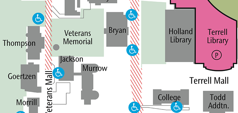 map of campus near Veterans Memorial